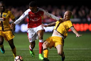 Nicky Bailey playing for Sutton against Arsenal in the FA Cup. Picture: Mike Hewitt/Getty Images