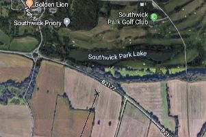Marked with an X, the field where Southwick airfield was located. Picture: Eddy Amey/Google Maps