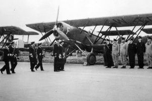 King George VI inspecting Shark aircraft at HMS Daedalus, Lee-on-the-Solent in 1940