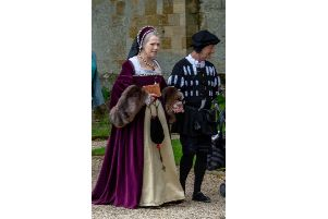 Andrew Elrick, pictured with his wife Elle, in costume as Thomas Cromwell Picture: Alannette Photography
