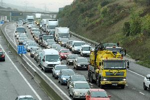 Queuing traffic on the M27 between Fareham and Portsmouth'Picture: Paul Jacobs (142959-1)