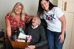 (left) Lorna Tumes who started a 'Just Giving' crowd-funding page with (right) Kerry Snuggs from Acts of Kindness  with RAF Veteran Brian Colley.