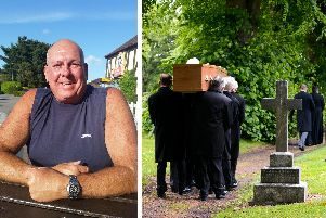 Undertakers carry the casket with Steve Dymond's body ahead of his private funeral at Kingston Cemetery in Portsmouth.'Picture: Jordan Pettitt/Solent News & Photo Agency