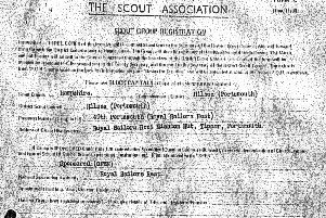 A registration form to join the 49th Portsmouth Scouts who were attached to HMS Adamant.  Image: John Hocking