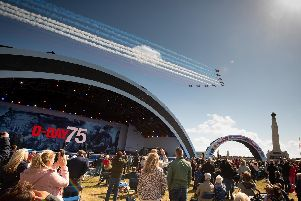 The Red Arrows flypast. Picture: Keith Woodland (080619-150)