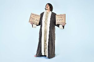 Jay Rayner prepares to deliver his Ten Food Commandments. Picture by Levon Biss