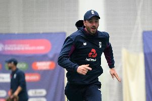 James Vince of England chases the ball during the indoor nets session at Old Trafford on Monday. Picture: Gareth Copley/Getty Images