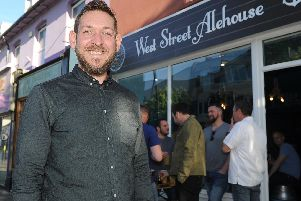 Landlord, Steve Willemsen, standing in front of the new micropub in West Street, Fareham.
