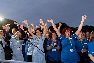 Doctors and nurses dance to the samba music. 'Picture: Vernon Nash (150619-014)