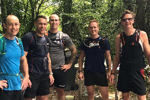Cosham and Gosport firefighters are taking part in the Midnight Mountain Marathon for The Fire Fighters Charity and Portsmouth A Band of Brothers. Left to right: Steve Roberts, 32, Jack Salter-Vaile, 34, George Hart, 28, Ryan Matthews, 42, and Graeme Dobson, 42