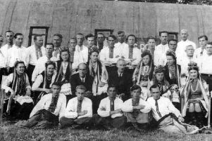 Members of the eastern Europeans displaced persons choir who lived in the former HMS Daedalus naval camp at Bedhampton after the Second World War.
