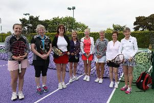 Sue Kitt, fourth from left, with players from Warsash. Picture: Chris Moorhouse