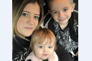 Kirsty with her children Joey, five, and Sophia, one