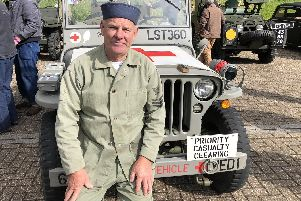 David Salisbury in his restored Jeep