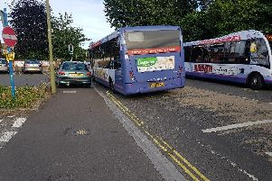 A broken down bus is causing travel problems on Bury Road in Gosport.