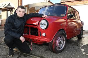Young Restorer of the Year 2018, Josh Smith of Sleaford, pictured with his Mini that he is restoring. He is now embarking on a new, fundraising challenge. EMN-191107-135356001
