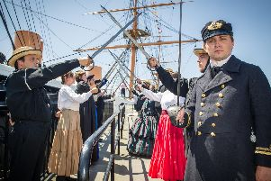 Actors of Historic Dockyard performing as crew and visitors of HMS Warrior 1863 following the ship's 4.2m overhaul 'Picture: Habibur Rahman