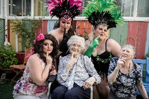 Burlesque girls Claire Deloo, Kelly Delay, Lindsey Oram with Bluewater residents, Beatrice Poole and Gillian Cooke at an LGBT Pride event held at the care home on Friday July 12. Picture: Habibur Rahman