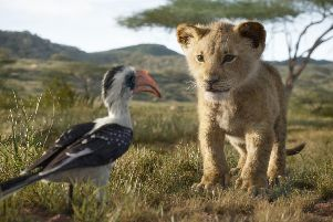 Zazu (voiced by John Oliver) and young Simba (JD McCrary). Picture: PA Photo/Disney Enterprises, Inc.