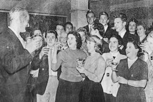 Staff at Knight &  Lee celebrating the reopening of the store after the Second World War. Picture: Wright and Logan
