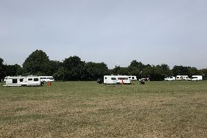 Travellers set up at Jubilee Park in Waterlooville and at Hook's Lane recreation ground in Bedhampton. Pictured are caravans at Hook's Lane. Picture: Richard Lemmer