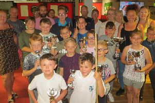 Players and their families at the Waterlooville Sports Bar Junior Pool League presentation. Picture: Tim Dunkley
