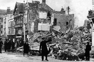 The remains of The Bedford in Chase on the corner of The Hard and Clock Street, Portsea, the morning after it was blitzed. Picture: The News archive.