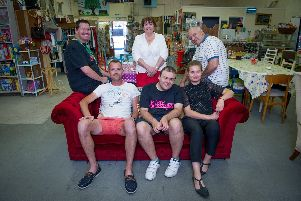 From top left to right: Chris Broughton, Anna and her husband Paul Miles, project coordinator Mike Harris, Matthew Miles and Gig Buddy Iggie Lesinska.