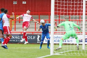 Ronan Curtis heads home Jamal Lowe's cross to earn Pompey a 1-0 victory at Stevenage. Picture: Joe Pepler