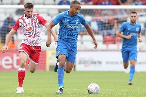 Anton Walkes launches an attack from right-back in Pompey's 1-0 victory at Stevenage on Saturday. Picture: Joe Pepler