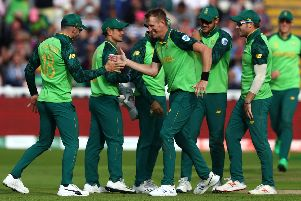 Chris Morris celebrates one of his 13 wickets during the World Cup. Picture: Michael Steele/Getty Images