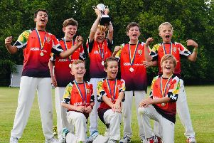 Locks Heath under-11s lift the trophy. Back, from left: Saransh Gupta, George McDowell, Theo Hart, Reuben Cooper, George Hurst. Front, from left: Joshua Cousins, Henry Lemon, Harry Brown