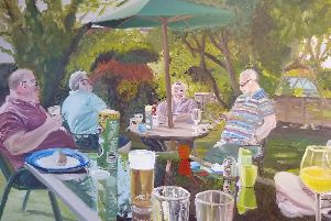 Fareham-based artist Georgina Lowbridge has been shortlisted for an international art award, with her paintings capturing family scenes from the Portsmouth region. Male Bonding Time.