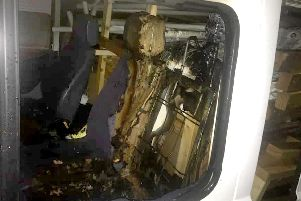 A burnt-out van belonging to The Real Junk Food Project South Coast Trash Cafe Network in Stoke Road in Gosport
