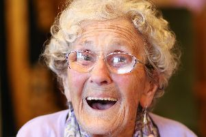 Pompey Girl Emma Smith celebrated her 101st birthday at Lord Mayor's Parlour, Portsmouth Guildhall. Picture: Chris Moorhouse.