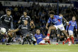 Ellis Harrison was denied a hat-trick against Birmingham. Picture: Robin Jones.