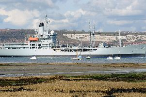 RFA Black Rover taken from Hardway, Gosport. Picture: Sarah Standing (170411-4774)