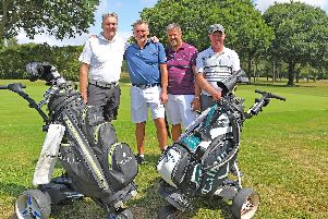 Waterlooville Golf Club Pro-Am celebrating their 40th Anniversary. 40 years of friendship - (left to right) Dave Watters, Paul Lucas, Simon Vine and Jon Barnes on the 18th hole. Picture: Malcolm Wells (190807-6067)