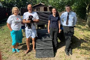 Gosportarians Carol Dent, Malcolm Dent and Gary Walker with animal centre manager Kirstie Blakeley, checking out the new agility platform at RSPCA Stubbington Ark