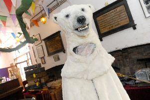 The polar bear costume which comes from Hollywood, moulded from the Narnia films. Picture: Sarah Standing.