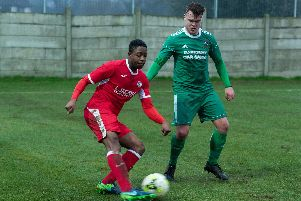 Fuzz Kanjanda scored in Horndean's 5-3 FA Cup win against Camberley Town   Picture: Vernon Nash