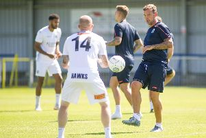 Danny Kedwell training with the Hawks at the start of pre-season Picture: Habibur Rahman