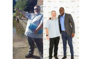 (left) Stephen Callaghan before losing weight and (right) after with former England, Leicester City and Liverpool striker Emile Heskey