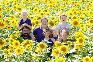 Pictured is, from left: Sam Wilson, 33, with his stepson George Kennard, 6, sister and co-manager Nette Petley, 32, niece Tilly Petley, 8, stepdaughter Isabel Kennard, 9, nephew Max Petley, 3, and wife Annabel Wilson, 36. Picture: Sarah Standing.