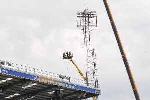Just one of Fratton Park's four floodlight pylons were removed during the summer. Picture: Colin Farmery/Portsmouth FC
