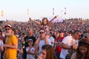Crowds enjoying themselves at Victorious Festival, Portsmouth, in 2017