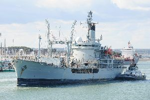 RFA Gold Rover leaving Portsmouth Harbour for the last time on Tuesday, August 13, as she heads to Turkey to be scrapped. Picture: Sarah Standing (130819-5372)