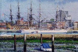The Norwegian sail training barque Statraad Lehmkuhl, built in 1914 , on a visit to Portsmouth with HMS Victory behind . Viewed from Royal Clarence Yard , Gosport