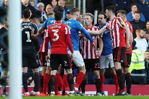 Tom Naylor and his Pompey team-mates square off with Sunderland last season. Picture: Joe Pepler