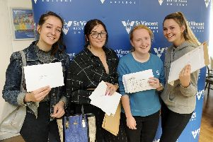 St Vincent College A Level results.'(l to r), 'Megan Kneller, Katelyn Webster, Layla Payne, Chloe Rolls.''Picture: Ian Hargreaves  (150819-3)